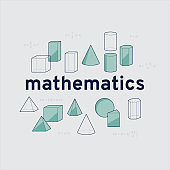 Mathematics banner with geometry solids