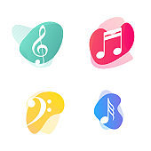 Music notes and symbols, colorful icons