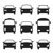 Set of cars silhouette, front view