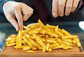 Unhealthy Eating, Fried Potatoes Stock Photo