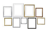 Set of different picture frames isolated on white background