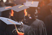 Group of Graduates during commencement. Concept education congratulation in University. Graduation Ceremony