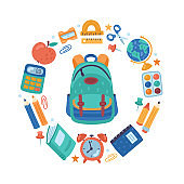 Back to school cute elements set. Childish print for cards, posters and stickers.