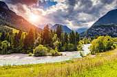 The picturesque view of the mountains that glow under sunlight. Triglav national park, Julian Alps. Slovenia, Europe.