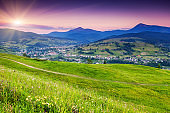 Beautiful summer landscape in the mountain village.