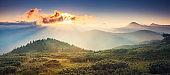 Beautiful view of rural alpine landscape. Carpathian, Ukraine, Europe.