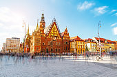 Fantastic view of the ancient city hall Wroclaw (Ratusz Wrocawski). Location famous Market Square, Poland, Europe. Historical capital of Silesia.