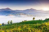 Fantastic morning mountain landscape. Carpathian, Ukraine, Europe.