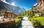 Majestic view of alpine village. Location place Swiss alps, Lauterbrunnen valley, Europe.