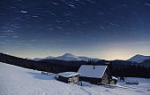 Majestic sunset in the winter mountains landscape. Carpathian, Ukraine.