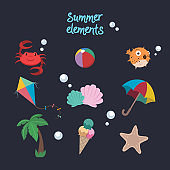 Collection of summer elements