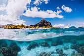 Tropical blue ocean with Le Morne mountain in Mauritius.