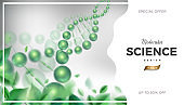 Science background design with 3d molecular structure