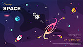 Space Exploration background design, modern gradient vector template