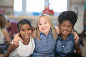 Multi-Ethnic Group of Kindergarten Children Portrait stock photo
