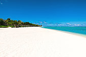 Tropical scenery - beautiful beach with ocean and blue sky of Mauritius island, Le Morne