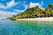 Luxury beach in Mauritius. Transparent ocean, white sand beach, palms and blue sky
