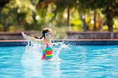 Child in swimming pool on toy ring. Kids swim.
