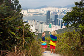 Family hiking in Hong Kong mountains