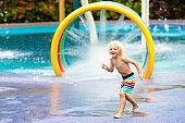 Kids at aqua park. Child in swimming pool.