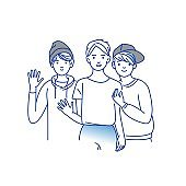Group of smiling teenage boys, friends standing together, embracing each other, waving hands. Happy students isolated on white background. One colour line art cartoon vector illustration.