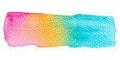 Vector rainbow paint texture isolated on white - watercolor banner for Your design