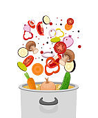 Pot with vegetables for soup vector design illustration isolated on white background