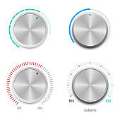 Metallic volume button vector design illustration