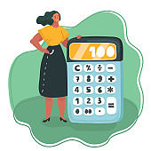 Woman hands with calculator.