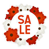 Red and white round flowers frame with sale message