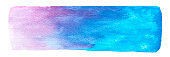 Vector blue and purple paint texture isolated on white - watercolor horizontal banner for Your design