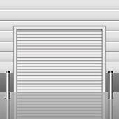 Realistic garage entrance vector design illustration