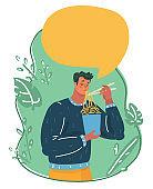 Man eating instant noodle.