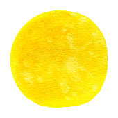 Vector round yellow watercolor paint texture isolated on white for Your design