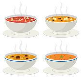 Hot vegetable soup vector design illustration isolated on white background