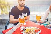 Beer toast over brunch