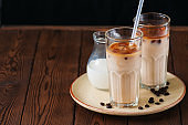 Fresh iced coffee in a tall glasses