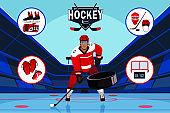 Hockey sport flat banner vector template