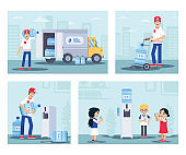 Water delivery service flat illustration set