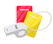Red and yellow cards with whistle soccer item