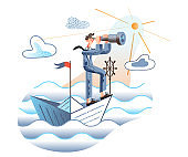 Strategy searching flat vector illustration. Businessman on paper boat looking in spyglass. Entrepreneur in formal wear cartoon character. Business plan, startup idea. Looking for new opportunity.
