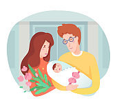 Young happy mother and father holding newborn baby