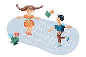 Kids playing hopscotch game flat illustration