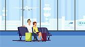 Couple at airport terminal flat vector illustration