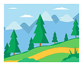 Mountain landscape flat vector illustration