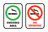 Smoking restrictions signs templates set