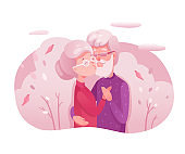 Senior couple kissing flat vector illustration