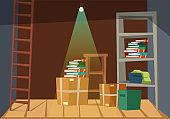 Empty basement interior flat vector illustration