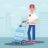 Courier delivering water flat vector illustration