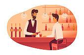 Man sitting at bar counter flat illustration